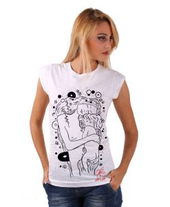 Hand-painted tank top - Mother and son by Klimt black and white