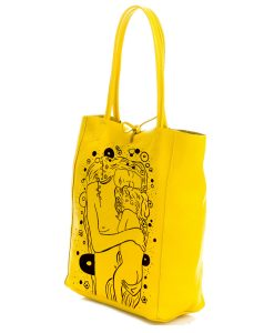 Hand painted bag - Mother and child black and white by Klimt