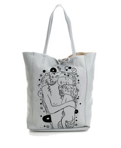 Borsa in pelle dipinta a mano – Madre e figlio di Klimt black and white