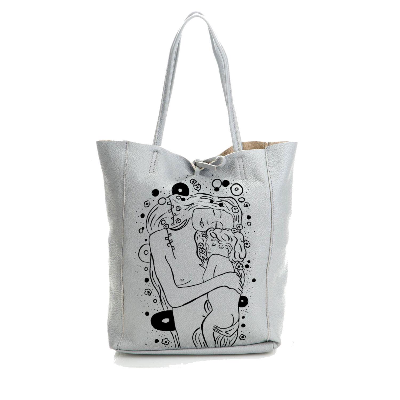 Borsa in pelle dipinta a mano – Madre e figlio di Klimt black and white