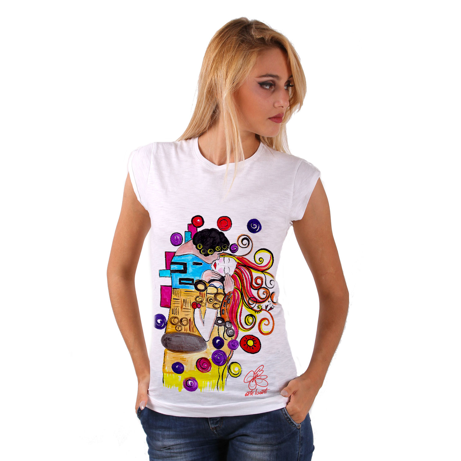 T-shirt dipinta a mano - Omaggio al Bacio Appassionato di Sophie Vogel cartoon color