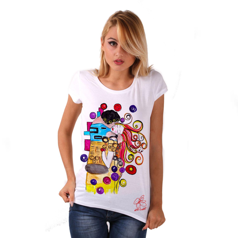 Maglietta dipinta a mano - Omaggio al Bacio Appassionato di Sophie Vogel cartoon color
