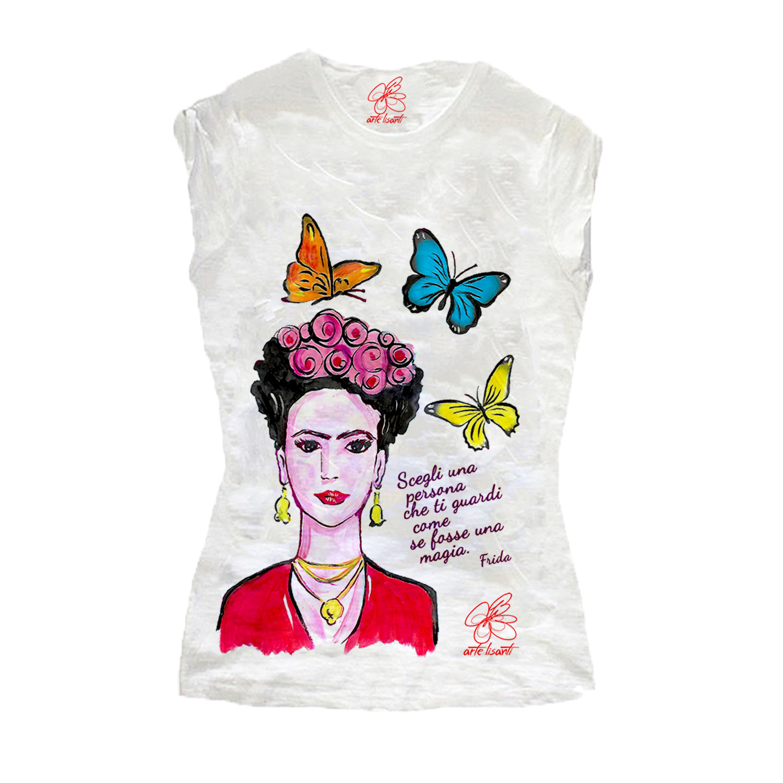 T-shirt in cotone dipinta a mano - Mi Amor! Frida Kahlo