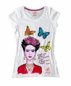 Maglietta in cotone dipinta a mano - Mi Amor! Frida Kahlo