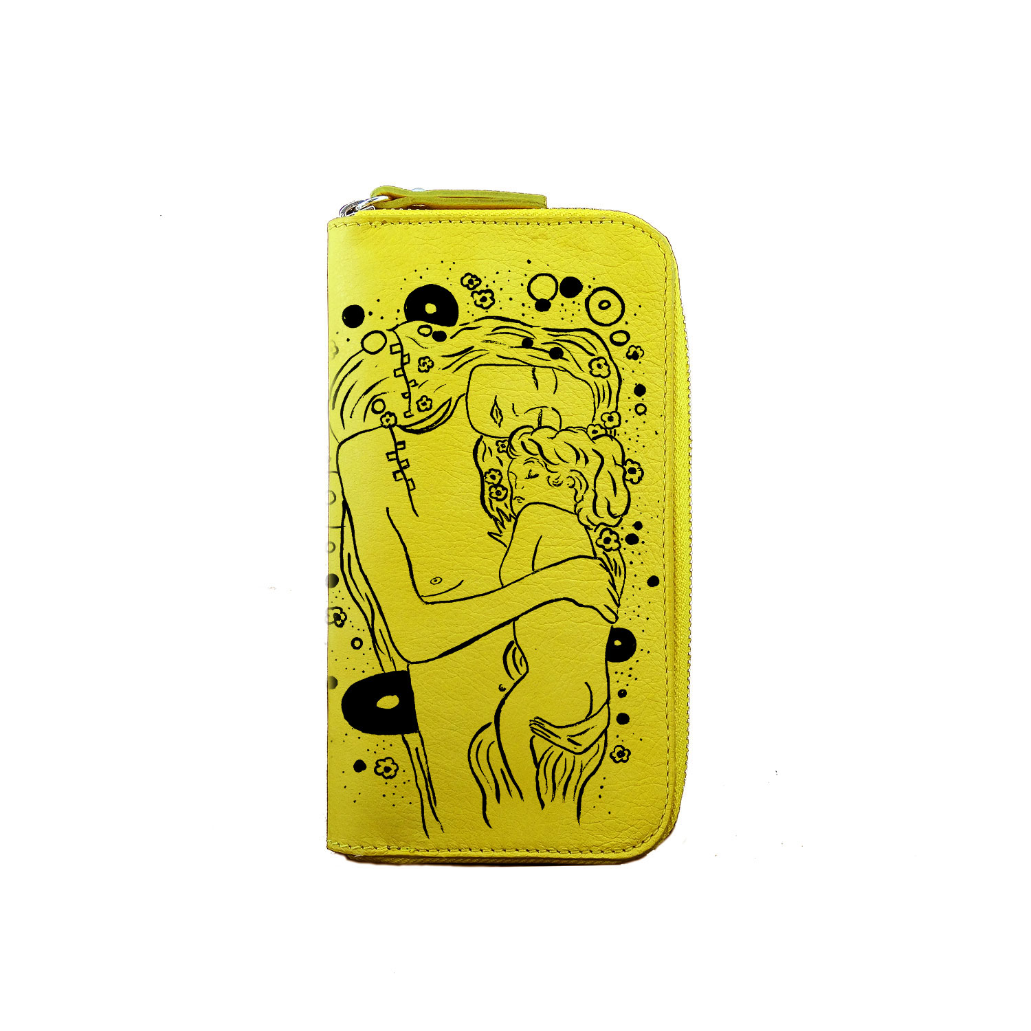 Hand painted wallet - Mother and child black and white by Klimt