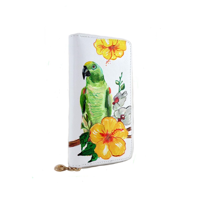 Portafoglio in pelle dipinto a mano – Green parrot