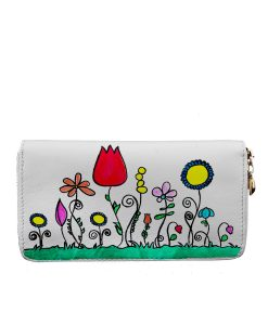 Hand painted wallet - Naif flowers