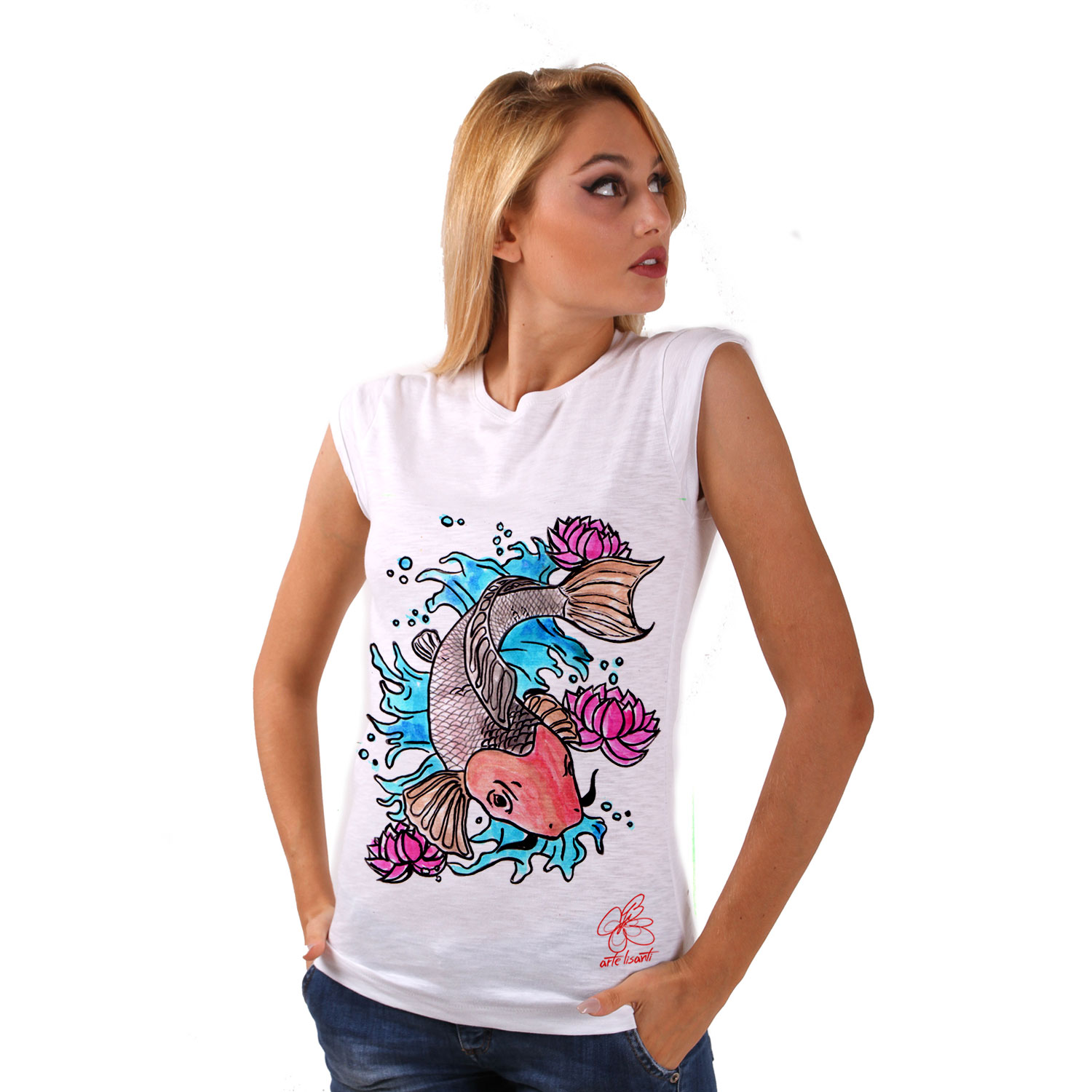 T-shirt in cotone dipinta a mano - Cat fish