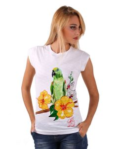 Hand-painted T-shirts - Green parrot
