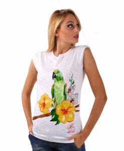 T-shirt dipinta a mano - Green parrot