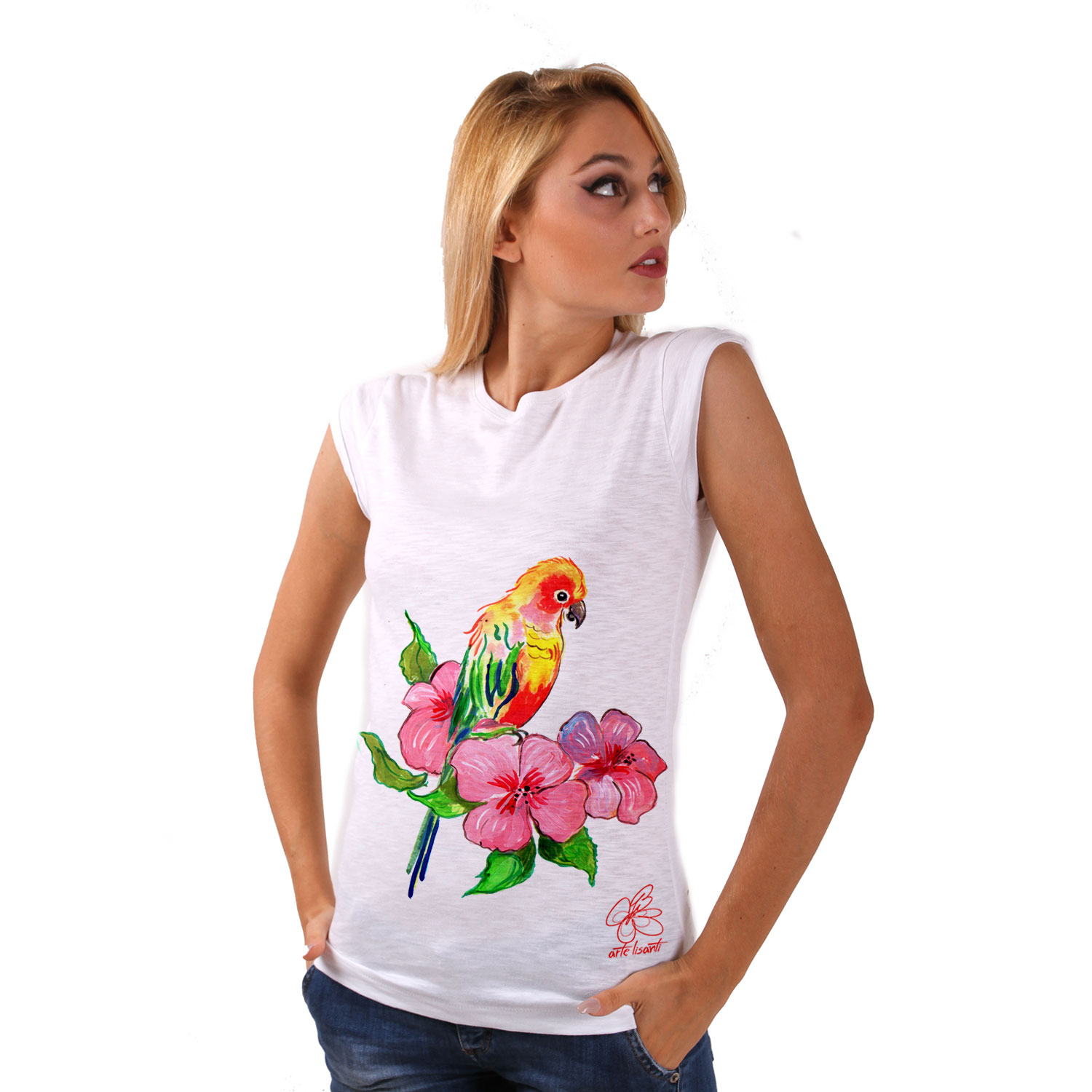 T-shirt dipinta a mano - Color bird