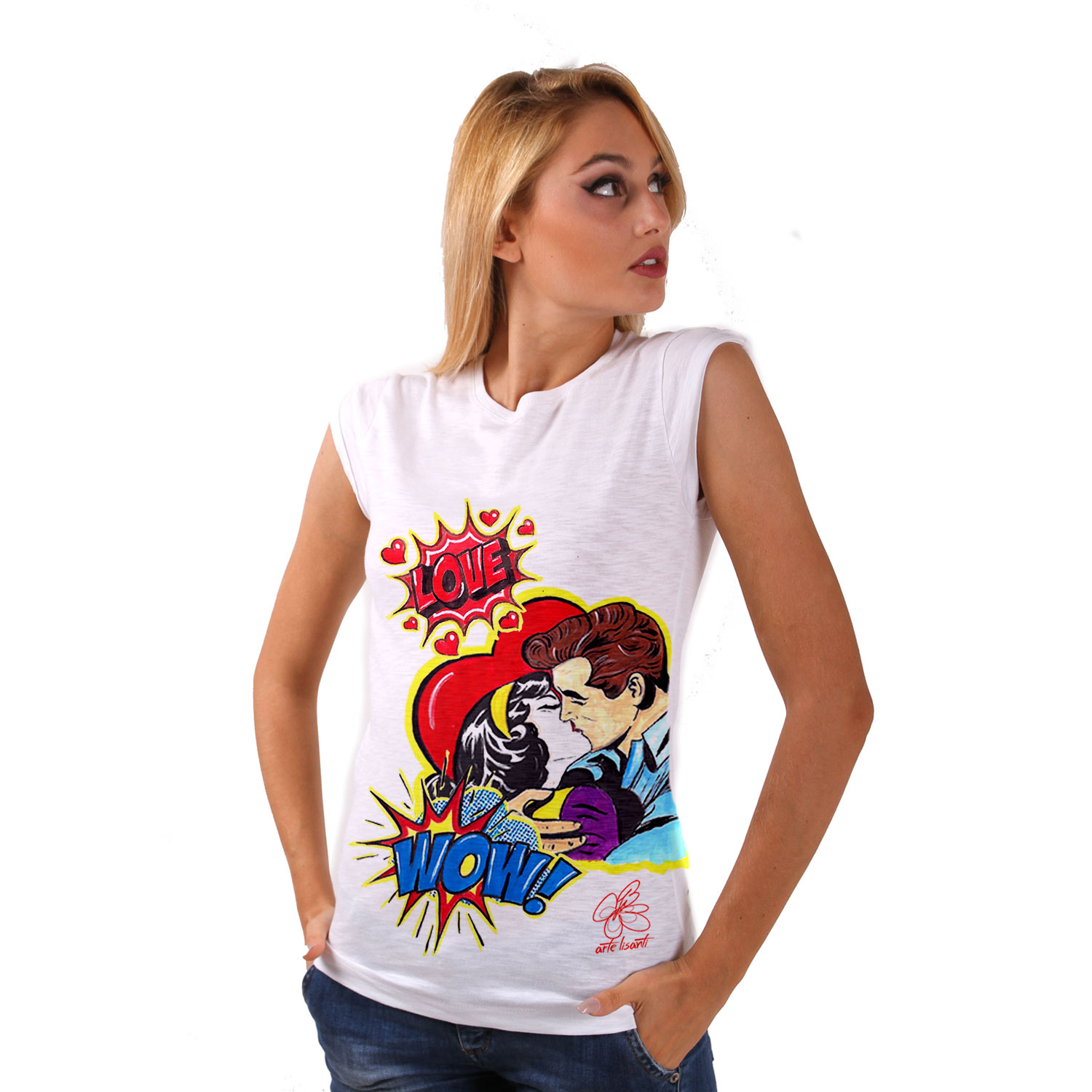 Hand-painted T-shirt - Love, tribute to Roy Lichtenstein