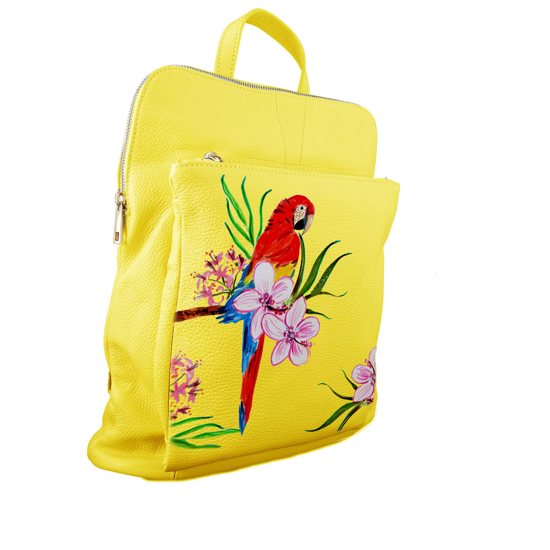 Borsa zaino dipinta a mano – Red parrot