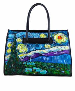 Borsa dipinta a mano - La notte stellata di Van Gogh