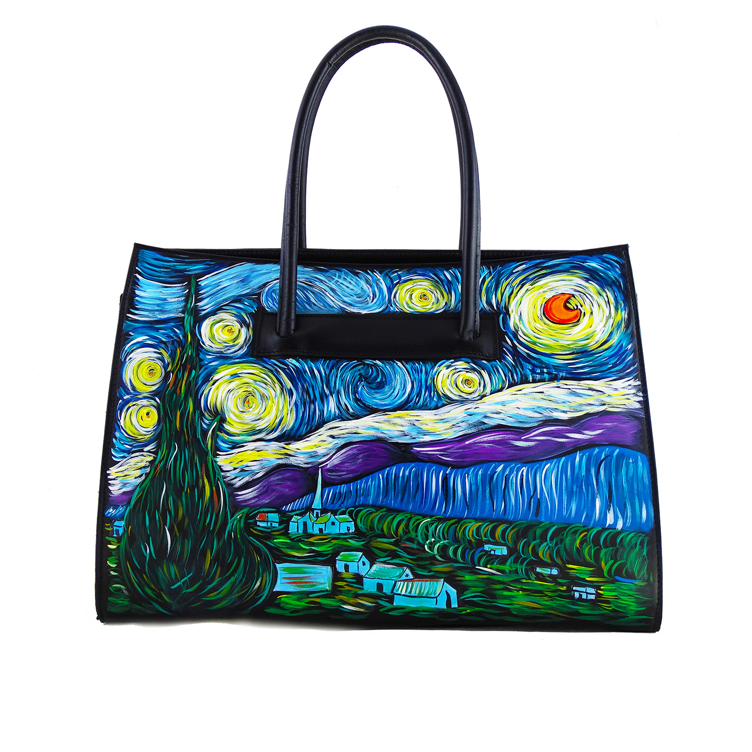 Hand painted bag – The starry night by Van Gogh