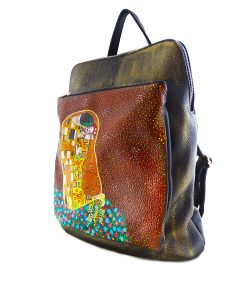 Hand-painted backpack bag - The kiss by Klimt