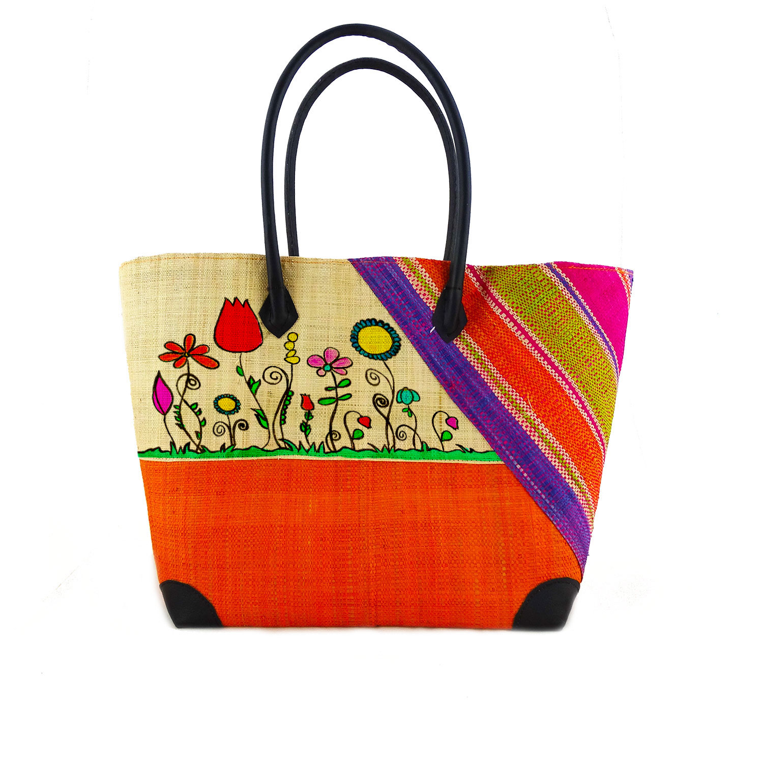 Handpainted Handbag - Naif Flowers