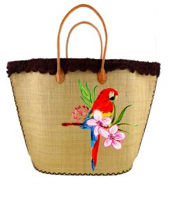 Borsa di paglia dipinta a mano – Red parrot