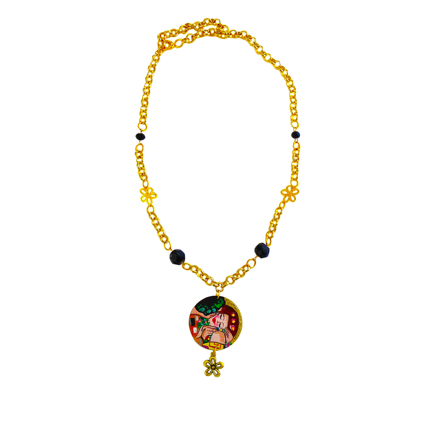 Hand-painted necklace - The kiss by Klimt