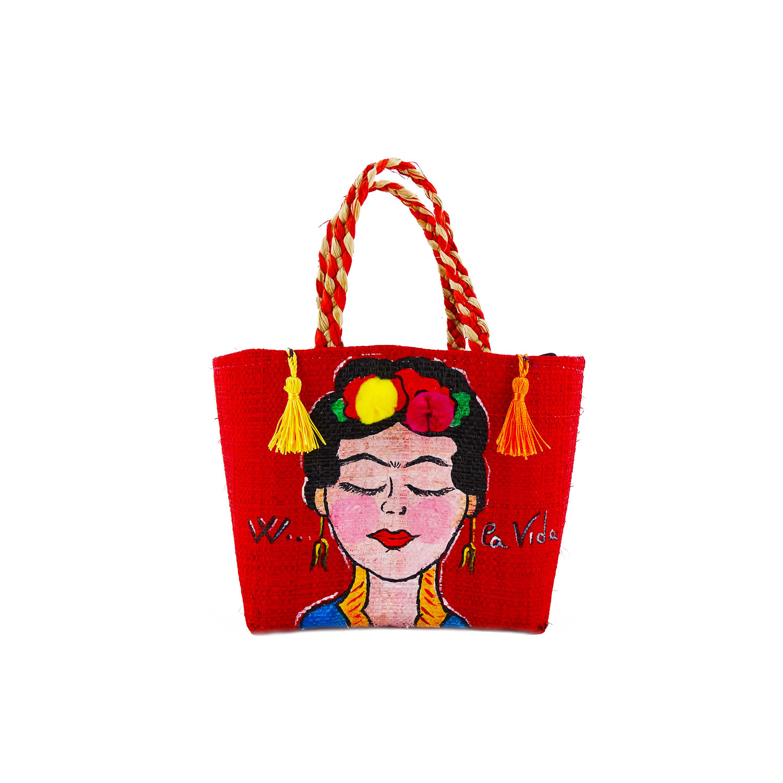 Hand-painted handbag - I Love Frida