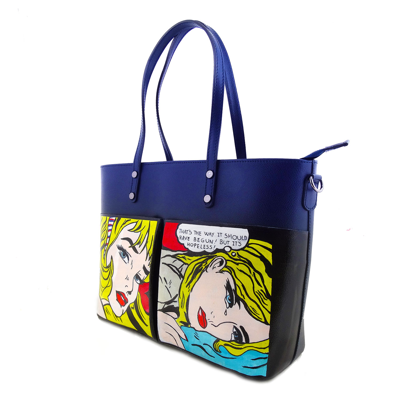 Borsa dipinta a mano – Vignette di Roy Lichtenstein