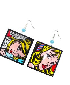 Hand-painted earrings - Cartoons by Roy Lichtenstein