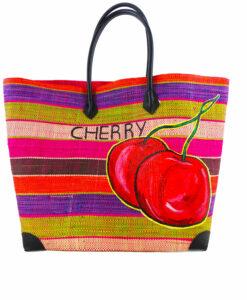 Borsa dipinta a mano in paglia – Cherry