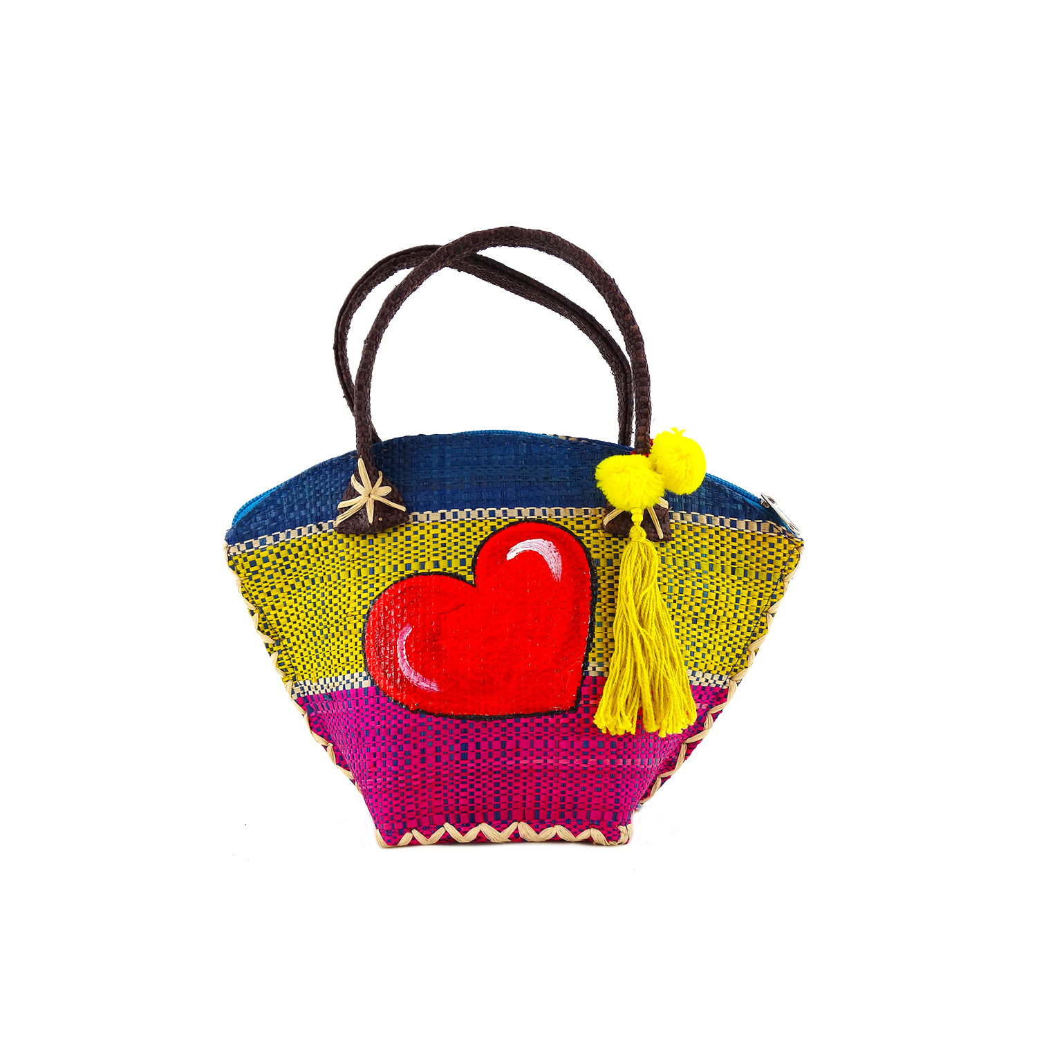 Hand-painted straw handbag - Red heart