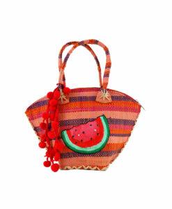 Borsa di paglia dipinta a mano – Watermelon