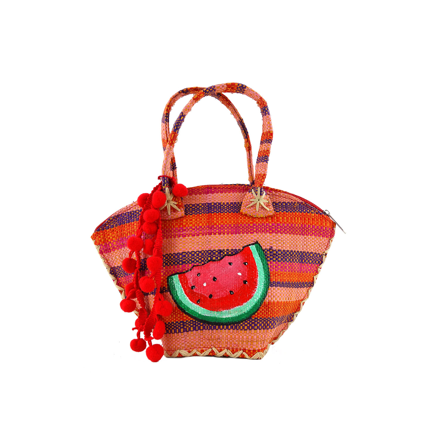 Hand-painted straw handbag - Watermelon