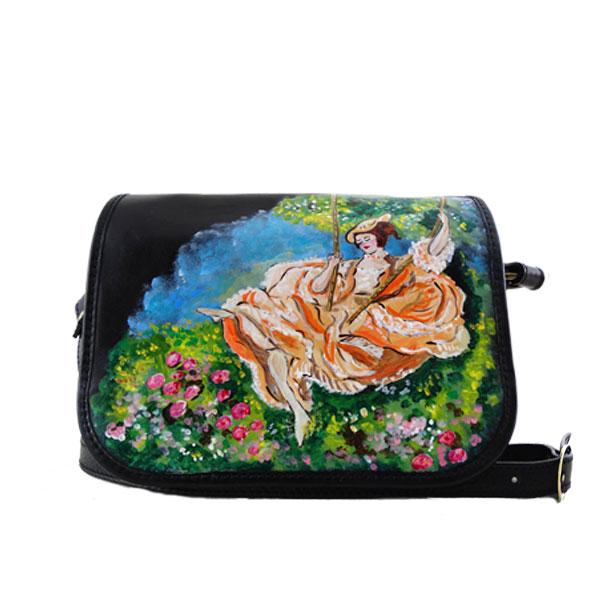 Borsa dipinta a mano - L'altalena di Fragonard