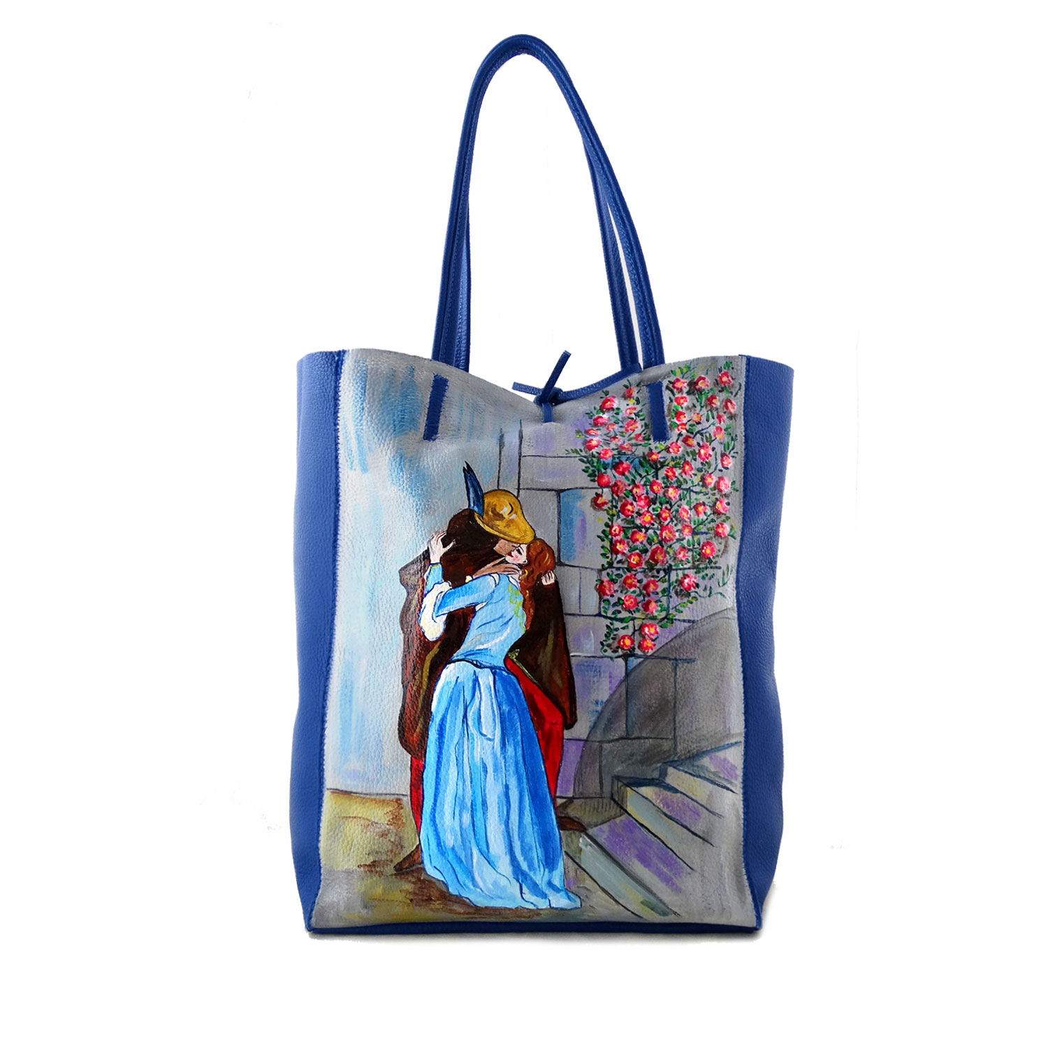 Hand painted bag - The Kiss by Hayez