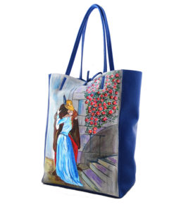 Hand painted bag -The Kiss by Hayez