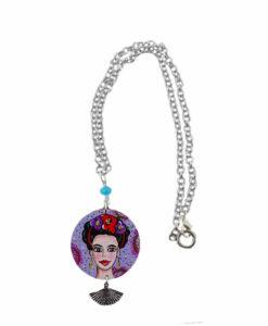 Collana dipinta a mano –Mi Amor! Frida Kahlo
