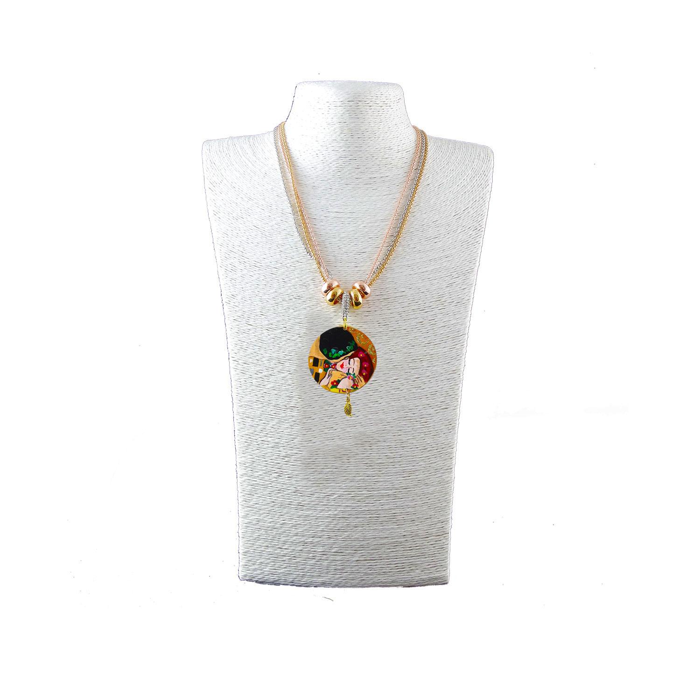 Collana dipinta a mano –Il bacio di Klimt