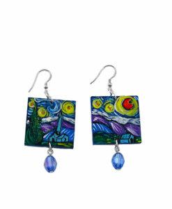 Orecchini dipinti a mano –La notte stellata di Van Gogh