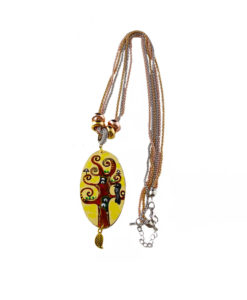 Collana dipinta a mano –L' albero della vita di Klimt