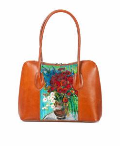 Borsa artigianale dipinta a mano–Vaso di papaveri e altri fiori di campo di Van Gogh