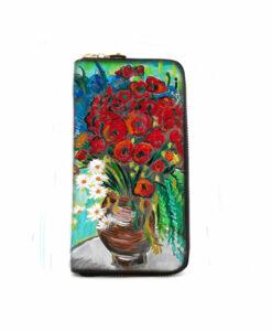 Portafoglio dipinto a mano Vaso con papaveri ed altri fiori di campo di Van Gogh