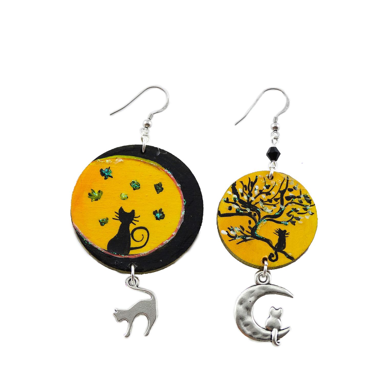 Orecchini dipinti a mano – Gatti con la luna