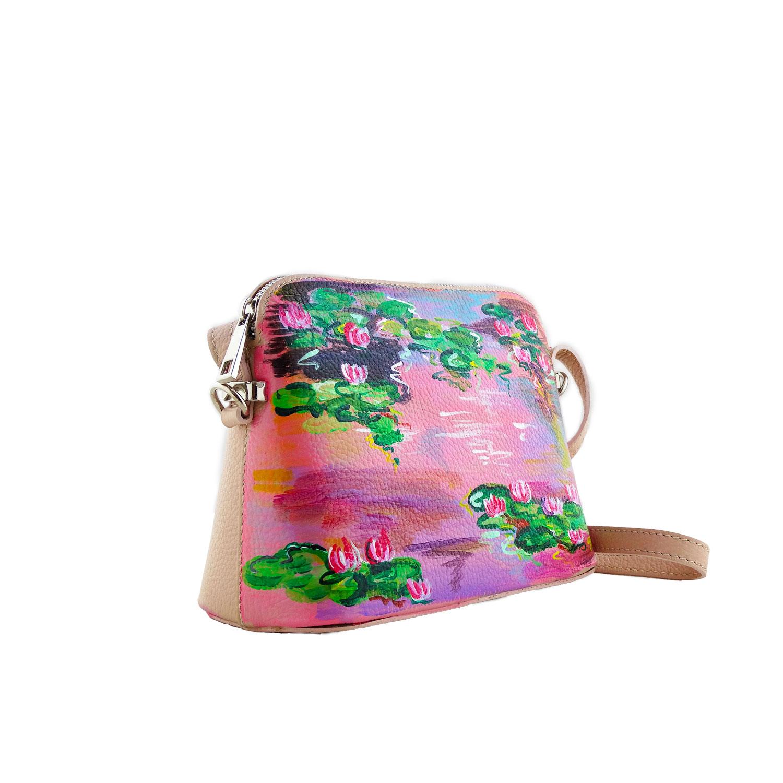 Borsa in pelle dipinta a mano – Le ninfee rosa di Monet