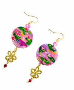 Orecchini dipinti a mano – Le ninfee rosa di Monet