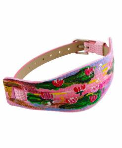 Bracciale dipinto a mano – Le ninfee rosa di Monet