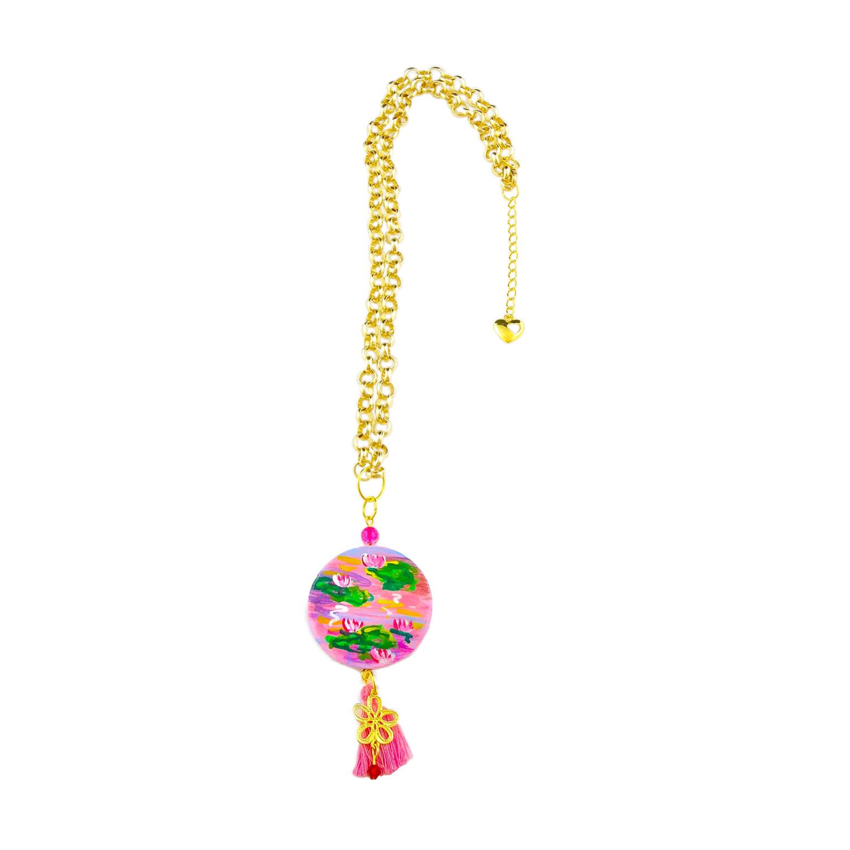 Collana dipinta a mano – Le ninfee rosa di Monet