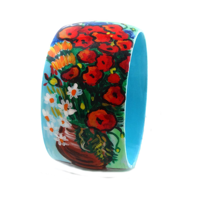 Bracciale dipinto a mano –Vaso con papaveri ed altri fiori di campo di Van Gogh