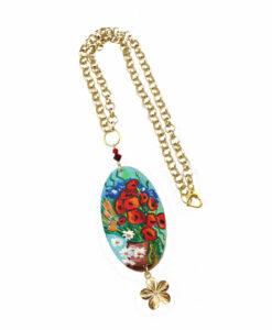 Collana dipinta a mano –Vaso con papaveri ed altri fiori di campo di Van Gogh