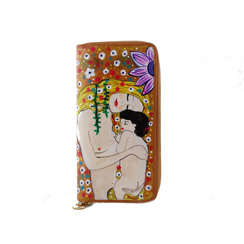 Portafoglio dipinto a mano –Madre e figlio di Klimt