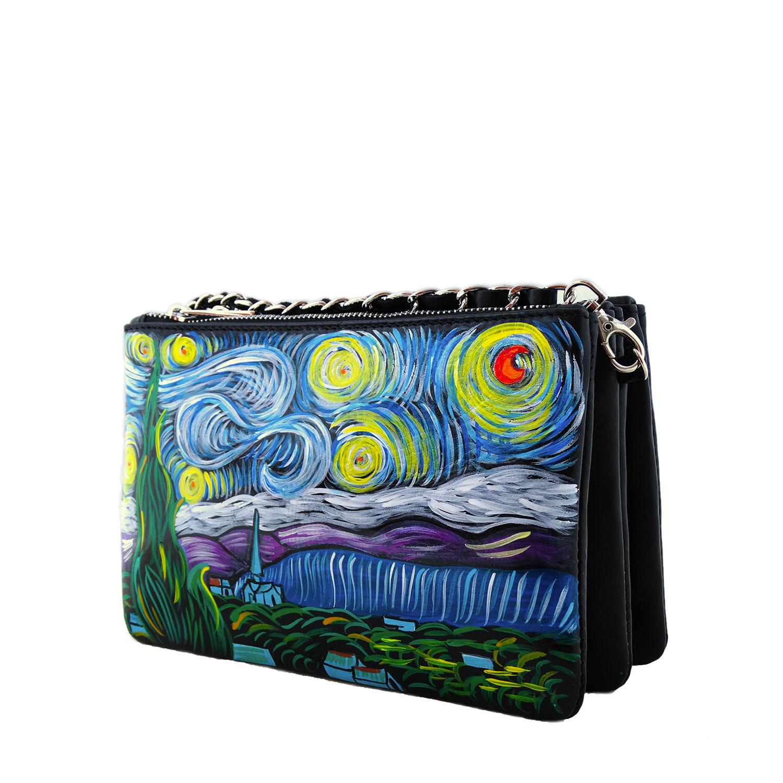 Borsetta in pelle dipinta a mano - La notte stellata di Van Gogh