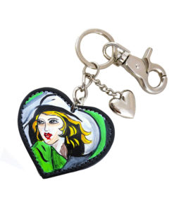 Hand painted keychain – Girl in Green with Gloves by De Lempicka