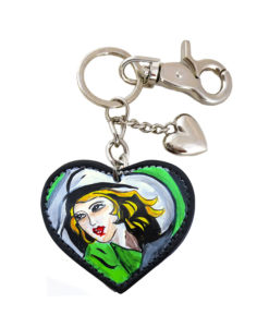 Portachiavi dipinto a mano - Ragazza in verde di De Lempicka